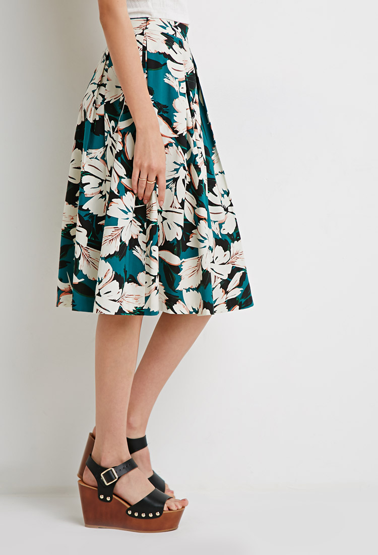 Forever 21 Floral A-line Midi Skirt in Blue | Lyst