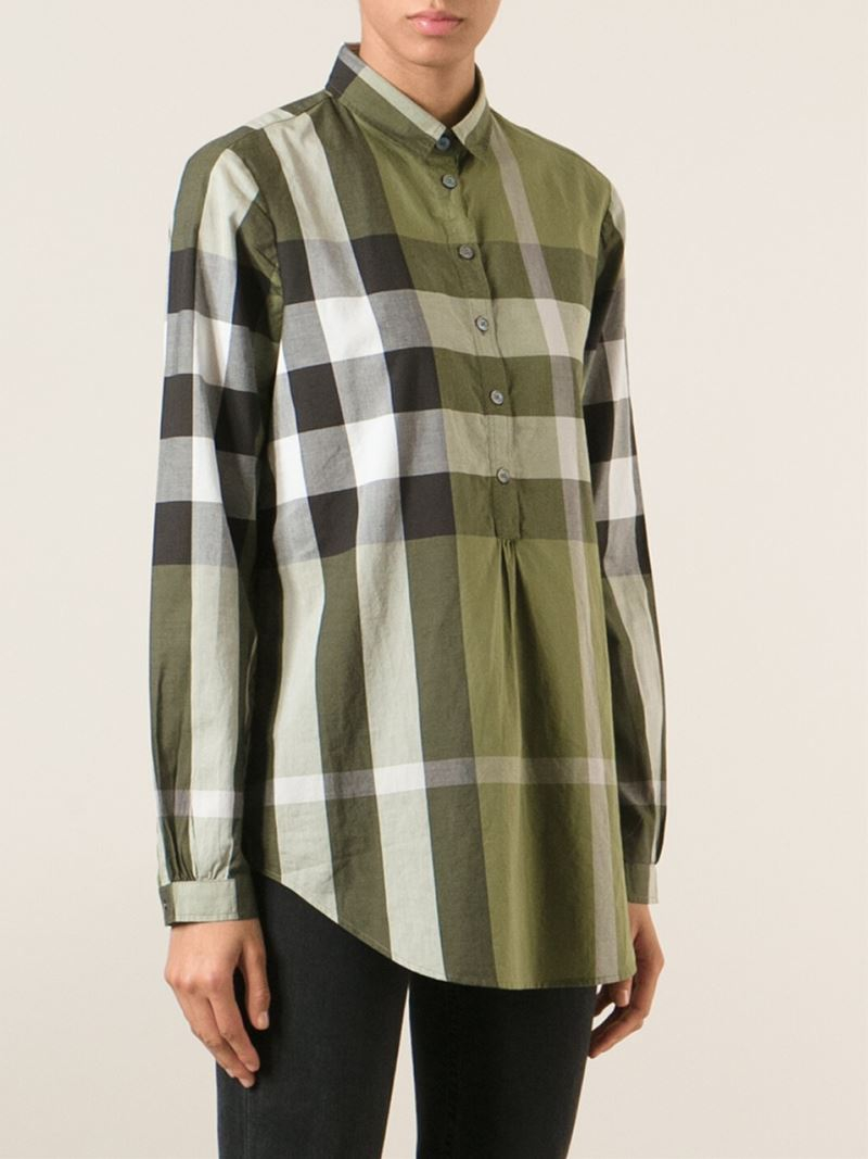 Lyst burberry brit 39 exploded check 39 shirt in green for Burberry brit checked shirt