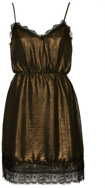 Topshop Metallic Slip Dress By Wyldr In Gold Lyst