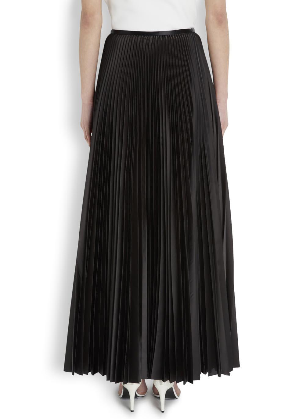 8accfcb3d5 Christopher Kane Black Pleated Satin Twill Maxi Skirt in Black - Lyst