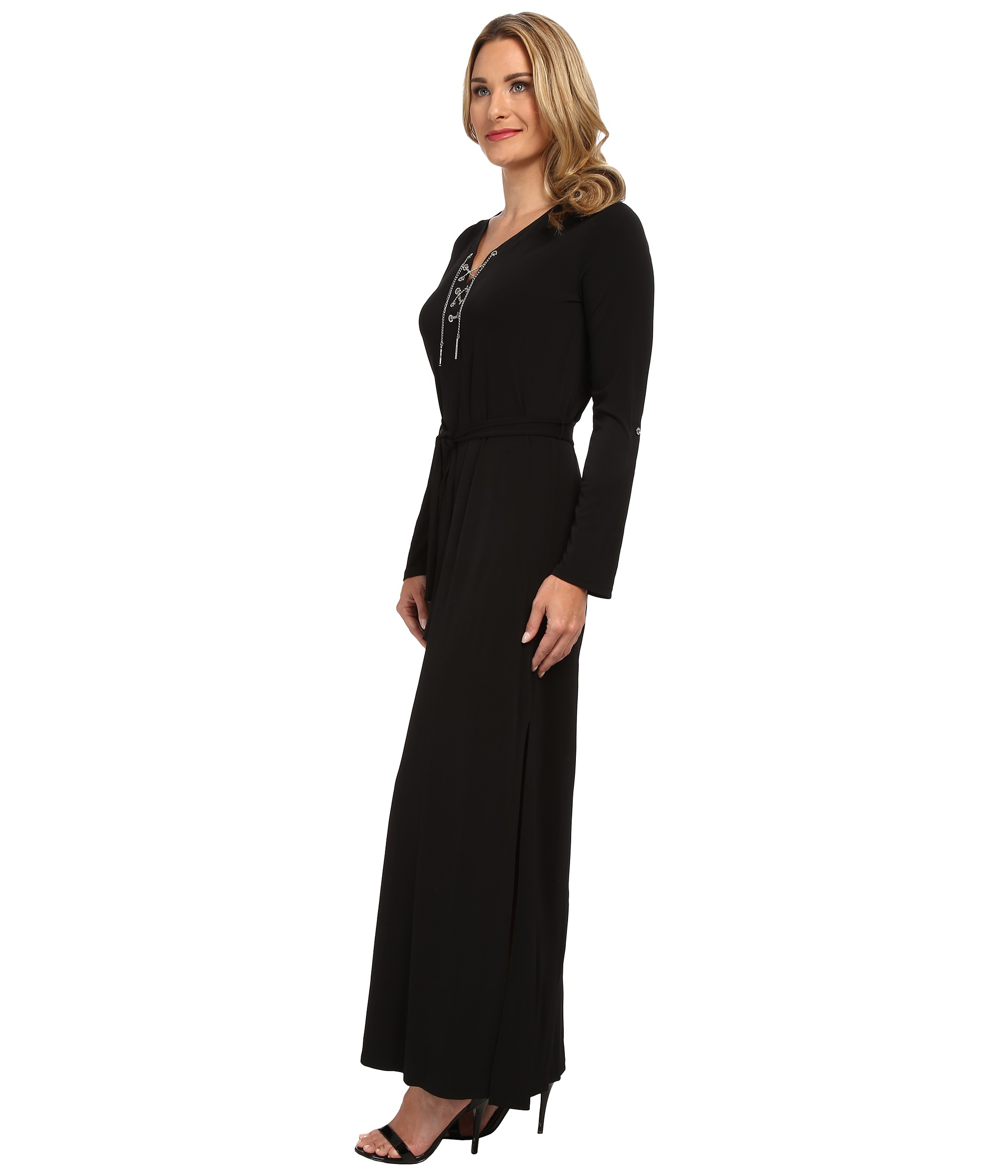 525acbe0954 MICHAEL Michael Kors Maxi Chain Tie Dress in Black - Lyst