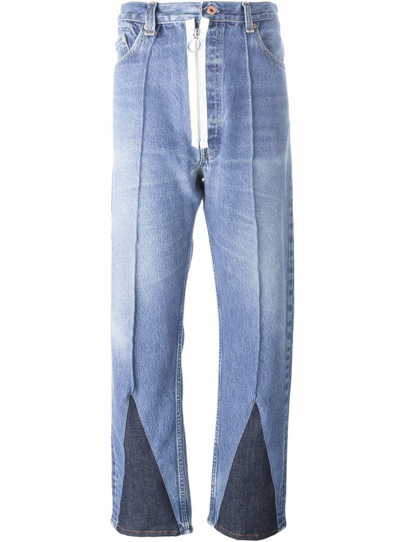 Off-white c/o virgil abloh Dark Panel Jeans in Blue | Lyst