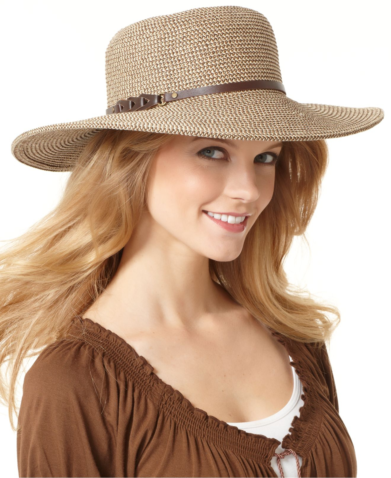 6ec4cc7197b Lyst - Nine West Packable Straw Floppy Hat in Natural