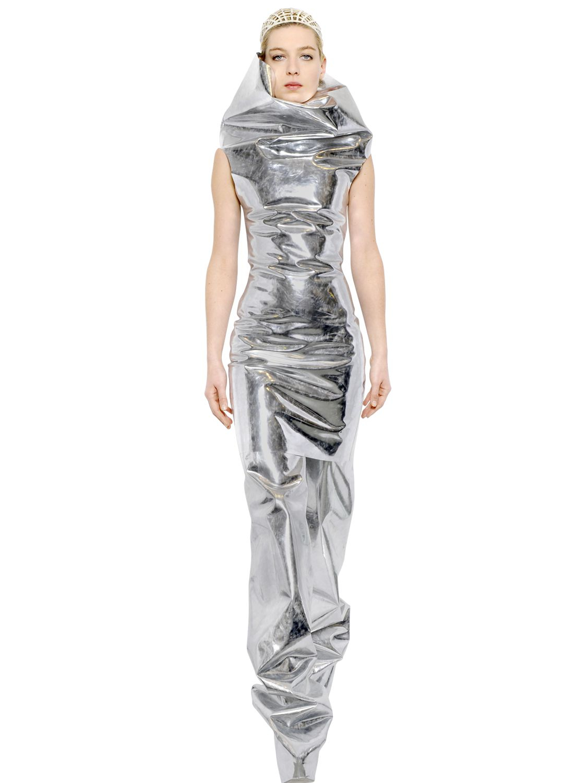 Lyst Gareth Pugh Sleeveless Mirror Dress In Metallic