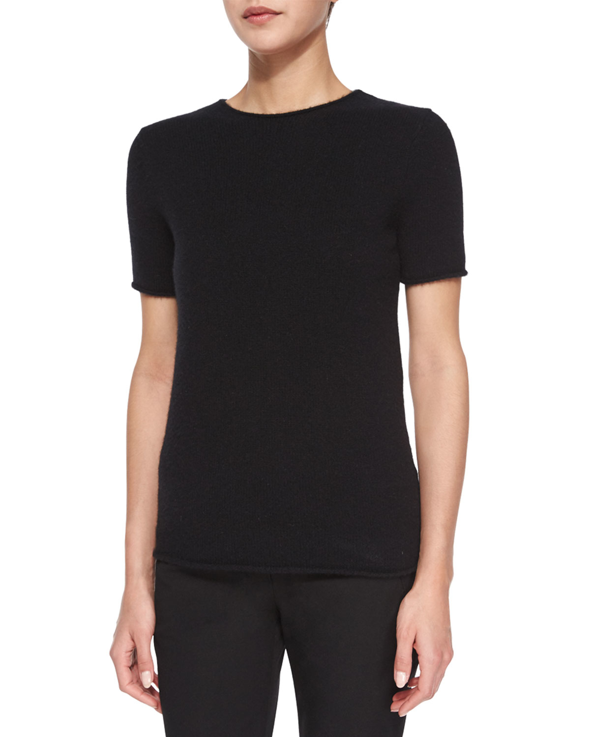 Theory Tolleree Short-sleeve Cashmere Sweater in Black | Lyst