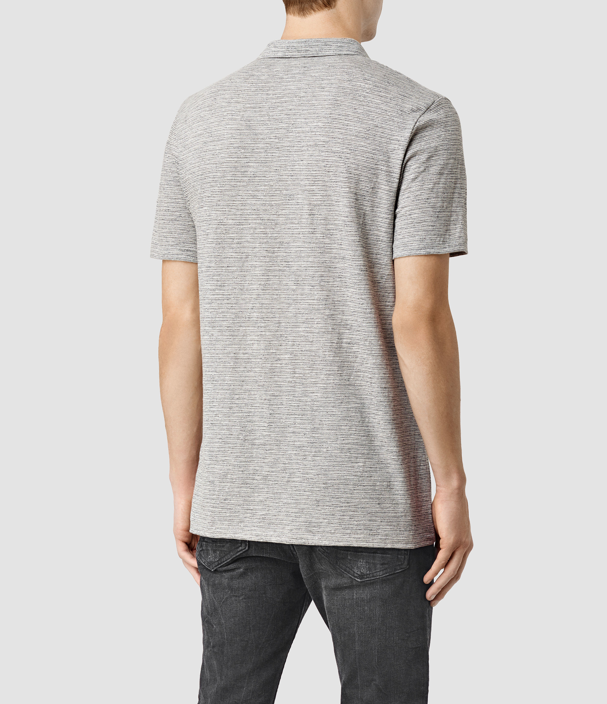 Allsaints acer polo shirt usa usa in gray for men lyst for All saints polo shirt