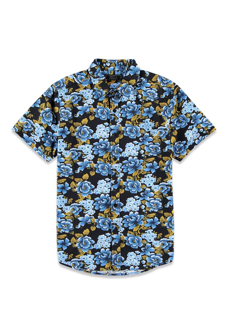 Lyst forever 21 ornate floral print shirt in blue for men for Blue floral shirt mens