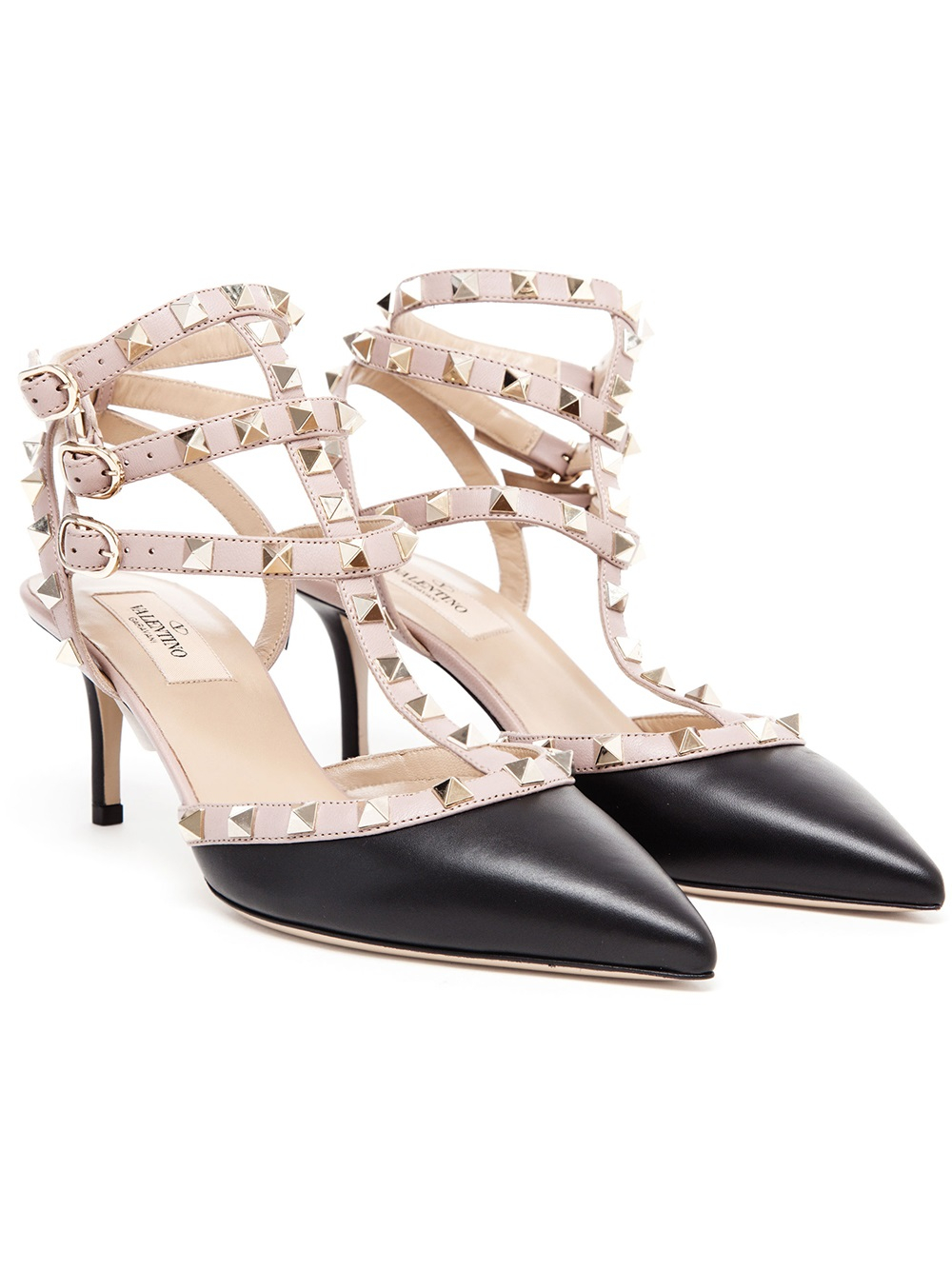 e7ca010414 Valentino Rockstud Leather Kitten Heels in Black - Lyst
