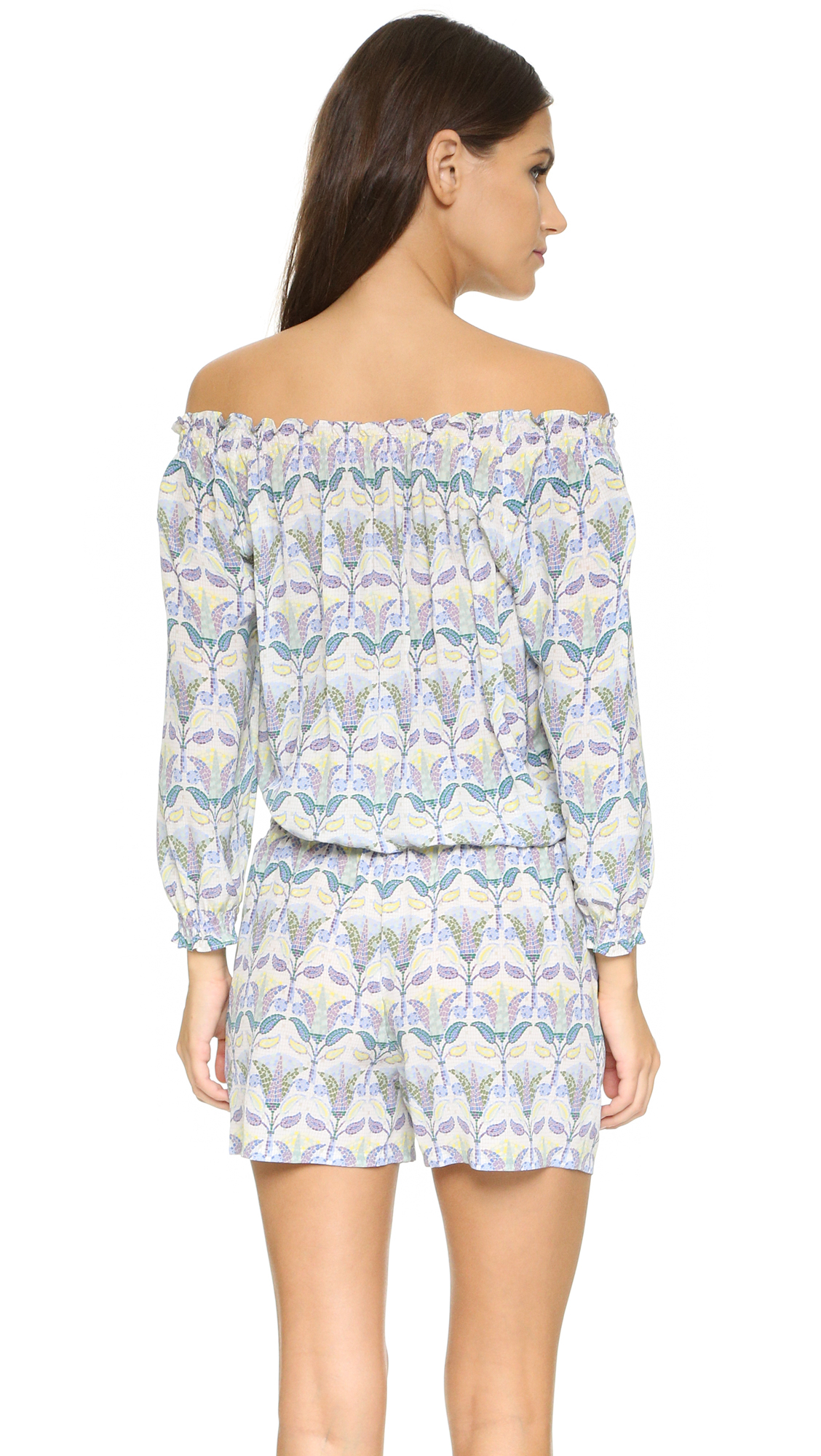 Tory burch mosaic romper in blue lyst for Tory burch fashion island