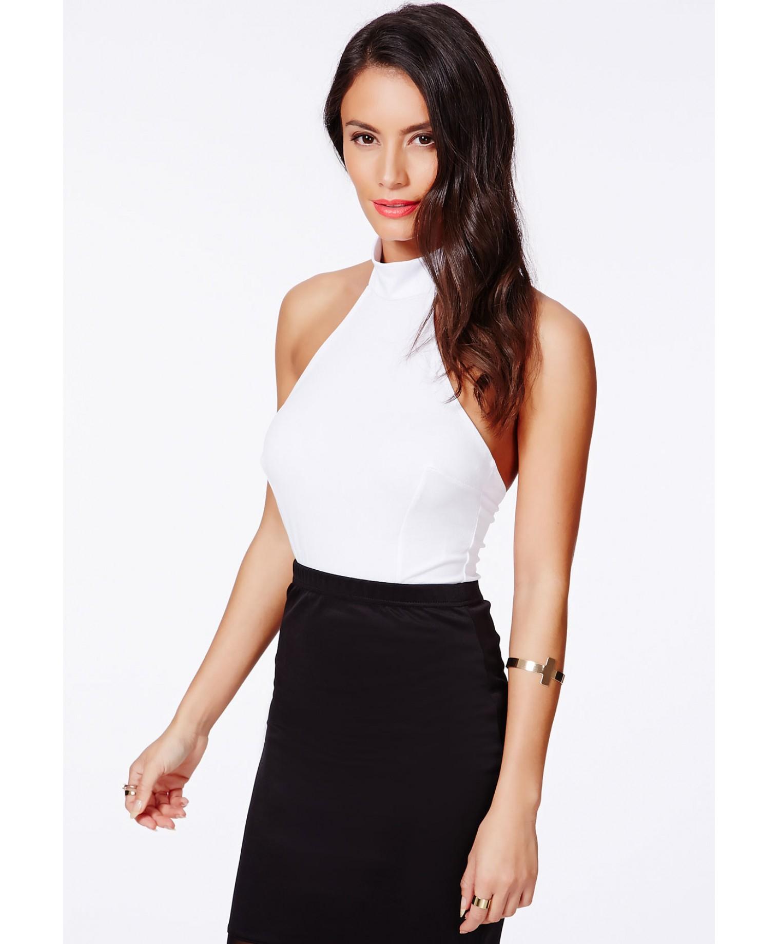 Missguided Museta White Halterneck Bodysuit With Open Back in White ... f01df08e7