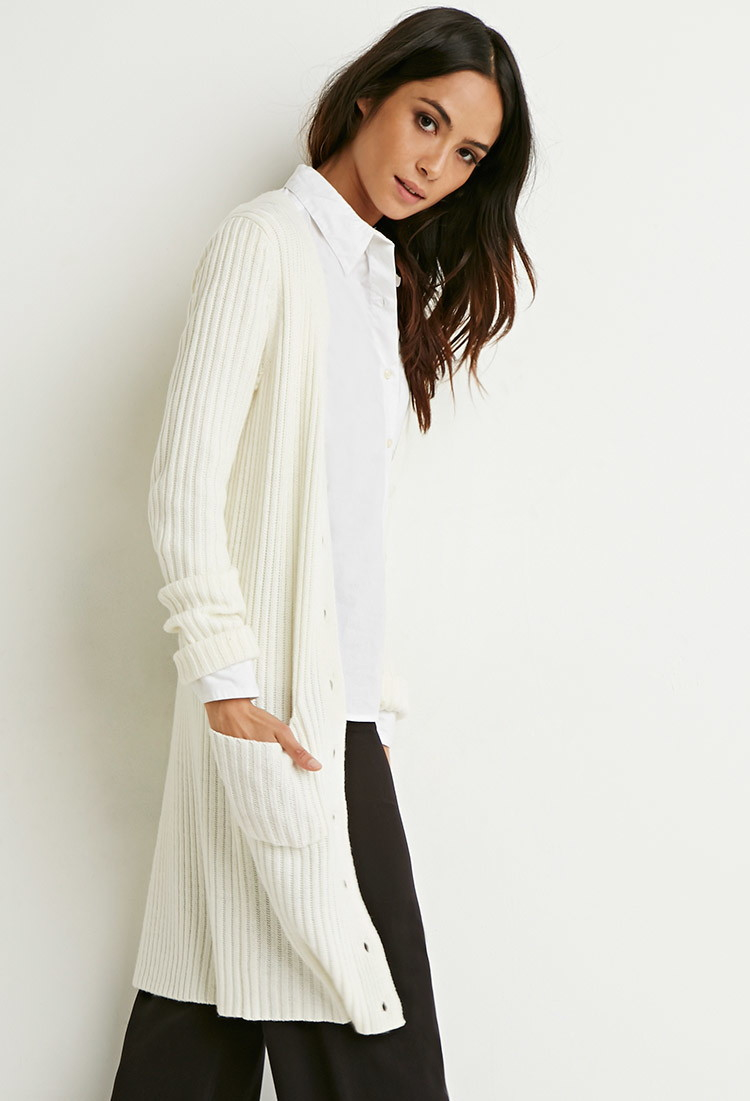 Forever 21 Ribbed Knit Longline Cardigan in Natural | Lyst