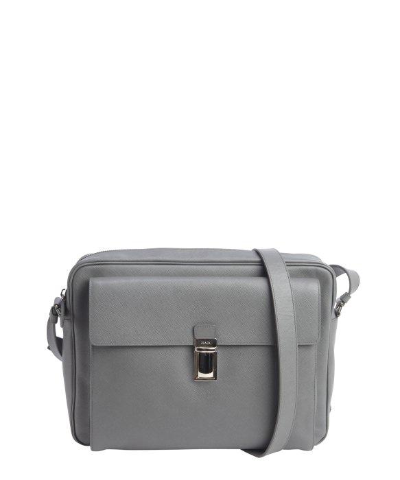 ... black a37 e414a 4f70d  amazon prada grey saffiano leather messenger bag  in gray for men lyst 9ed31 0d401 1928ec2d0b305