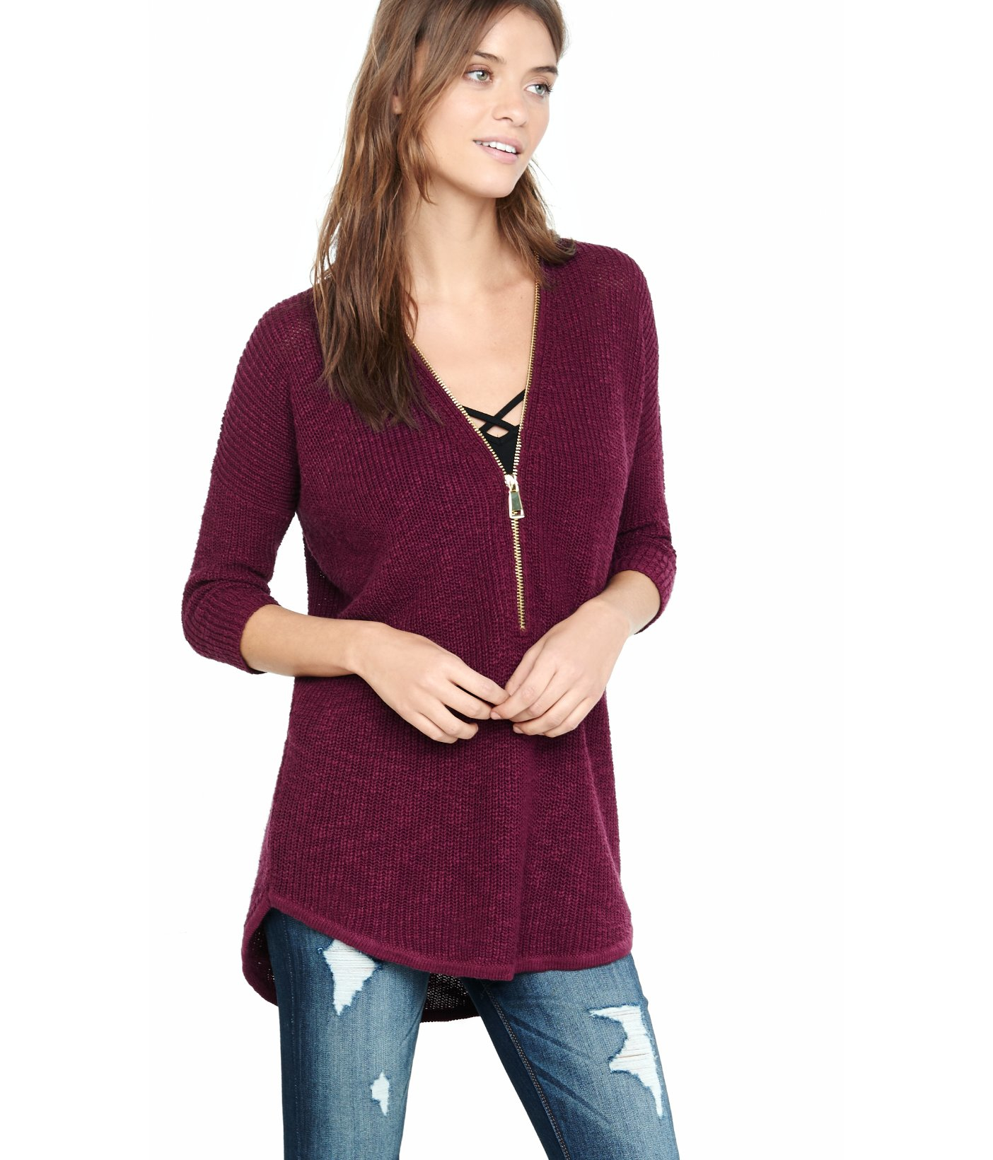 Express Zip Front London Tunic Sweater in Purple | Lyst