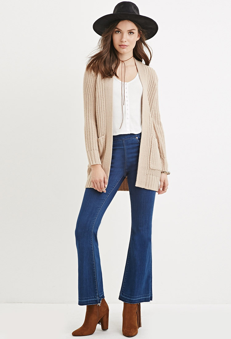 Forever 21 Chunky Knit Cardigan in Natural   Lyst