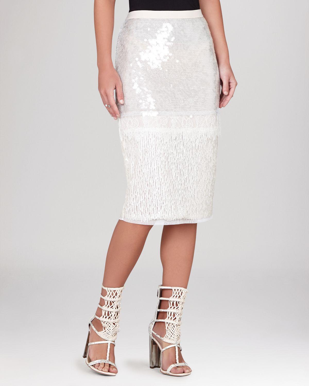 White Sequin Pencil Skirt