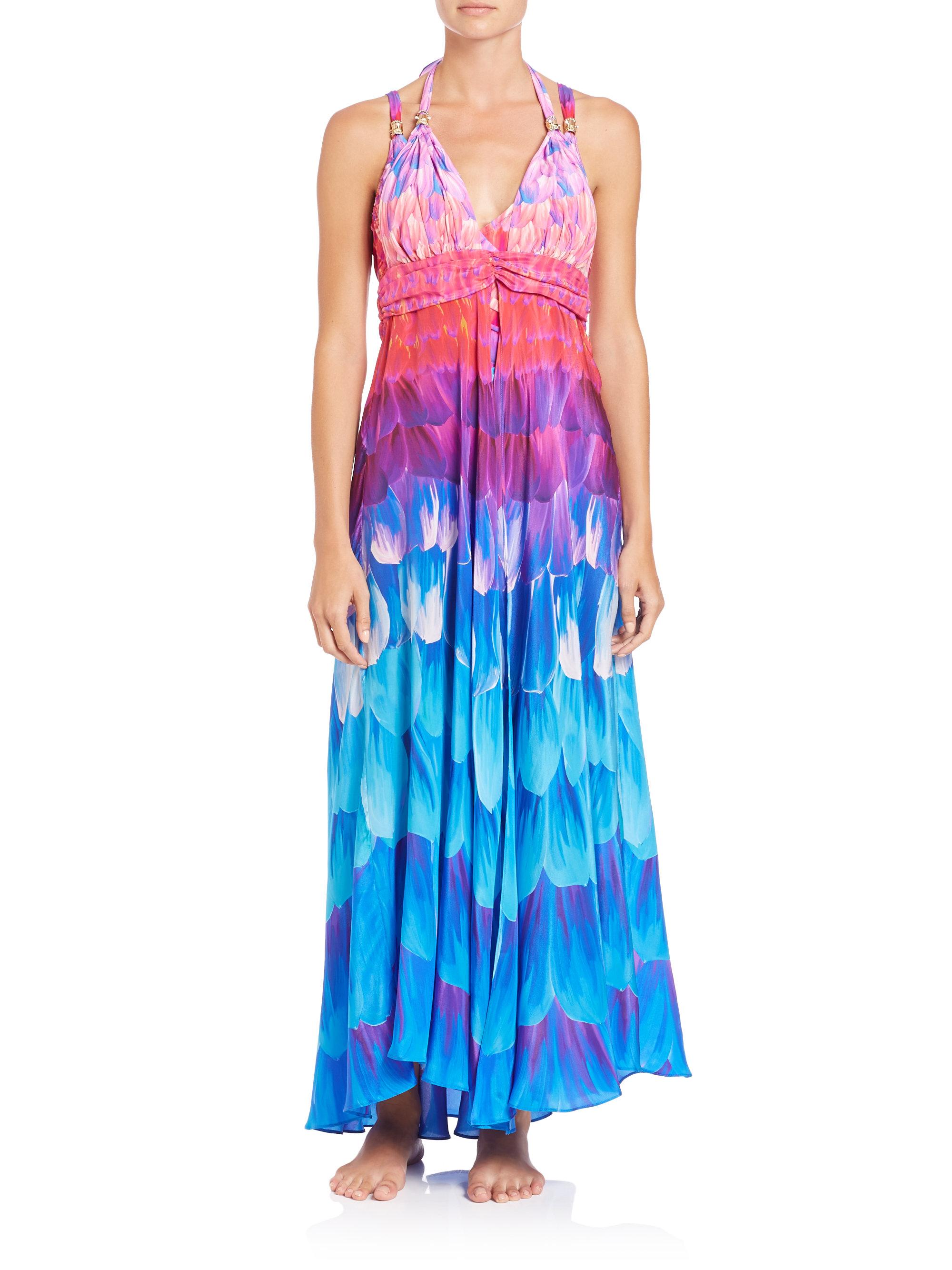 e0ac219fd4dd4 Gottex Long Silk Halter Coverup Dress - Lyst