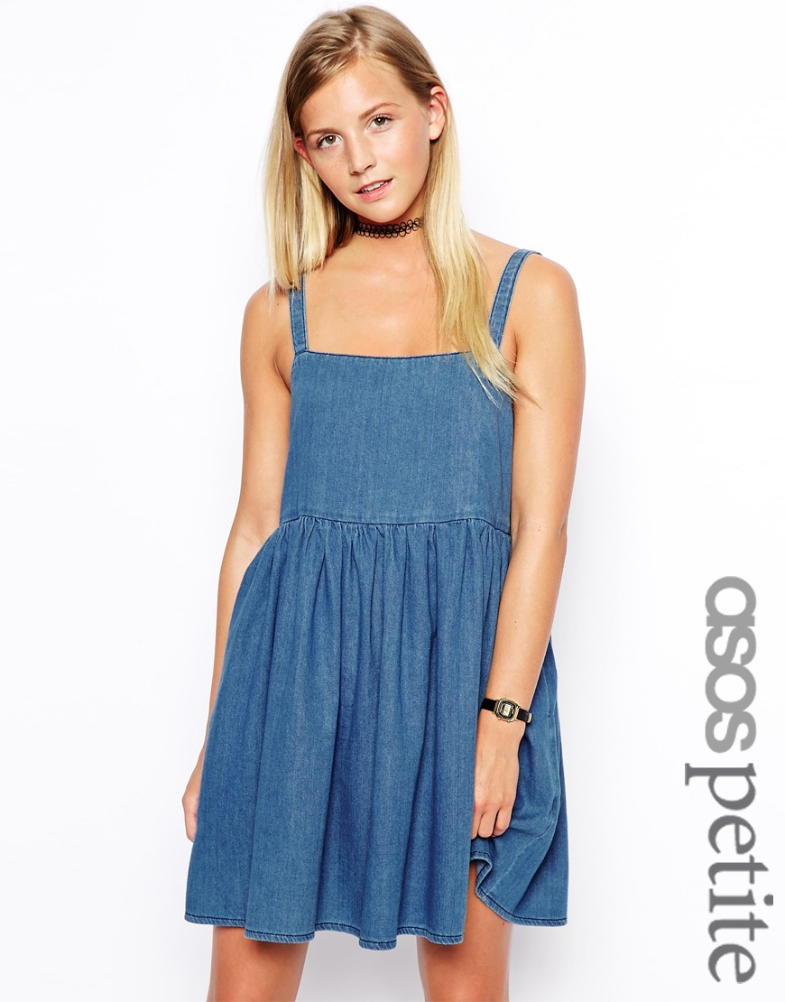 Exclusive Denim Adidas Top Ten 2000 Swaggy P Pes For: ASOS Exclusive Denim Smock Dress With Straps In Blue