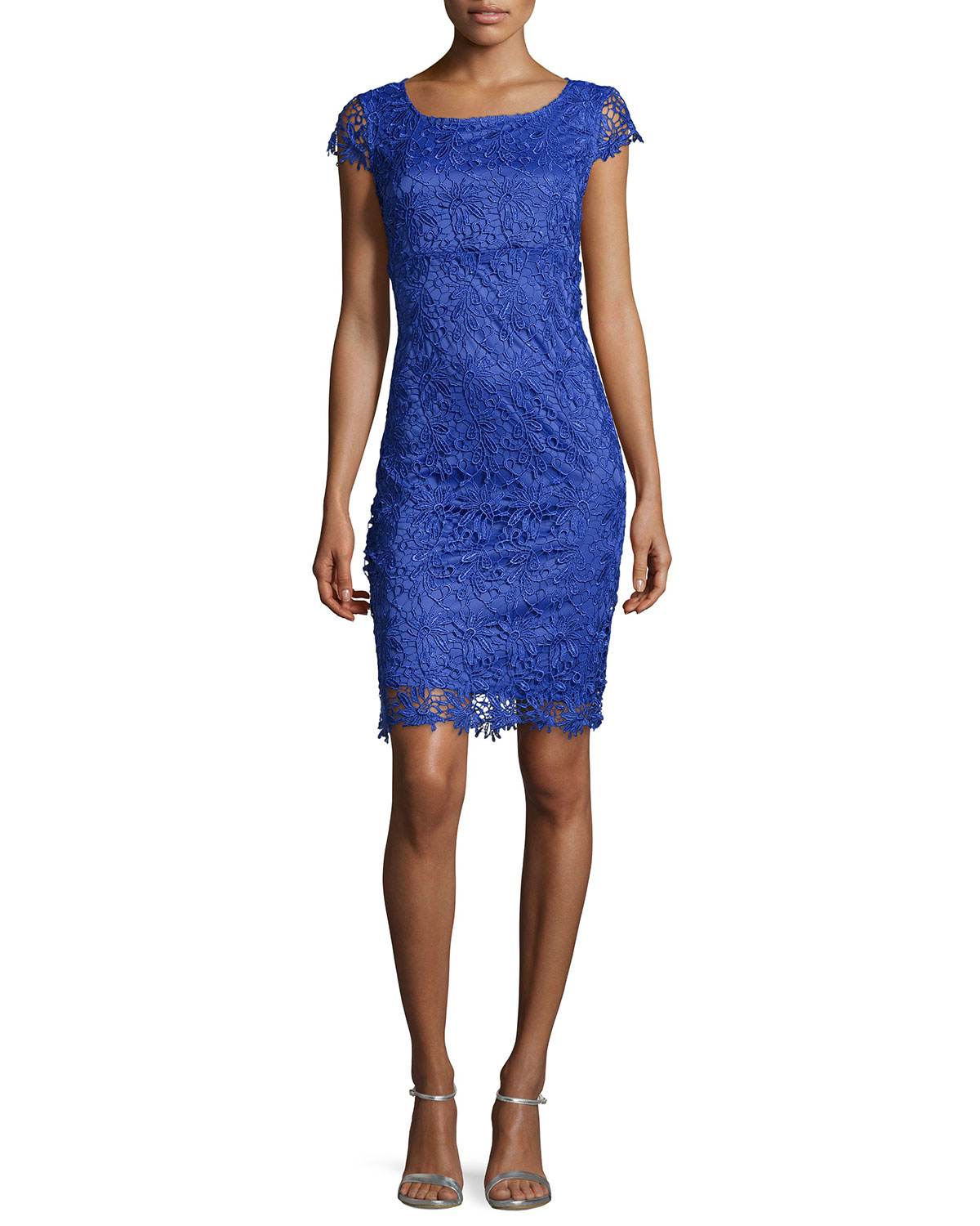 Lyst Marina Floral Lace Cap Sleeve Dress In Blue
