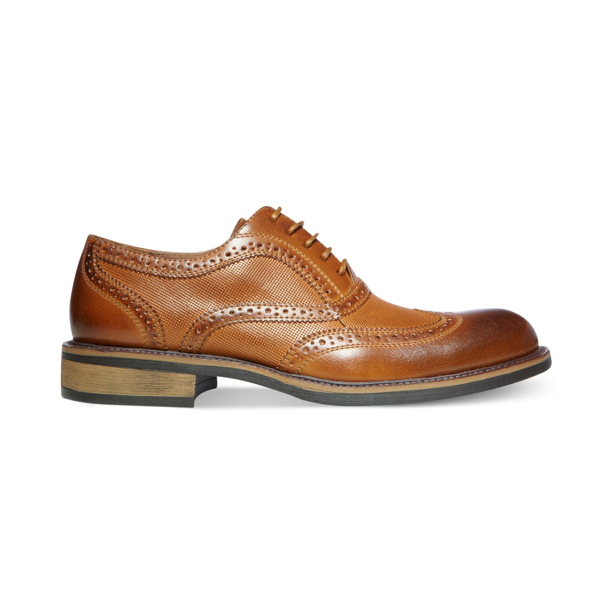 steve madden madden zane wingtip dress shoes in brown for