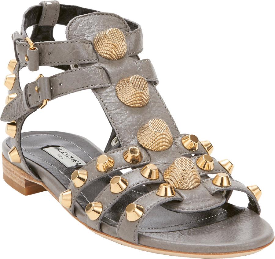 6ee63e1d1f563 Balenciaga Arena Gladiator Flat Sandal in Gray - Lyst