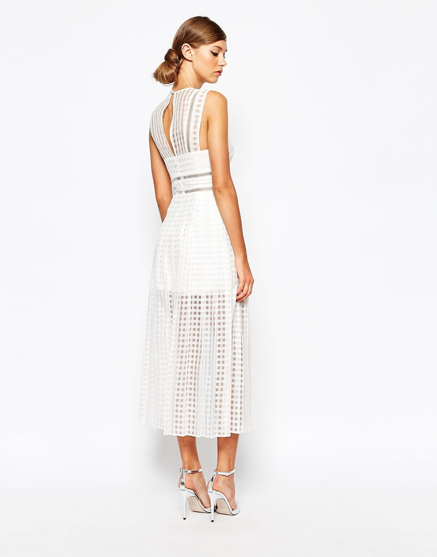 Self-portrait Sheer Check Midi Dress With Pleated Skirt - White in ...