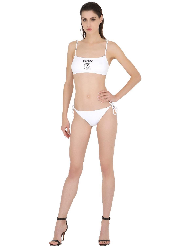 Moschino Logo Printed Lycra Bandeau Bikini in White