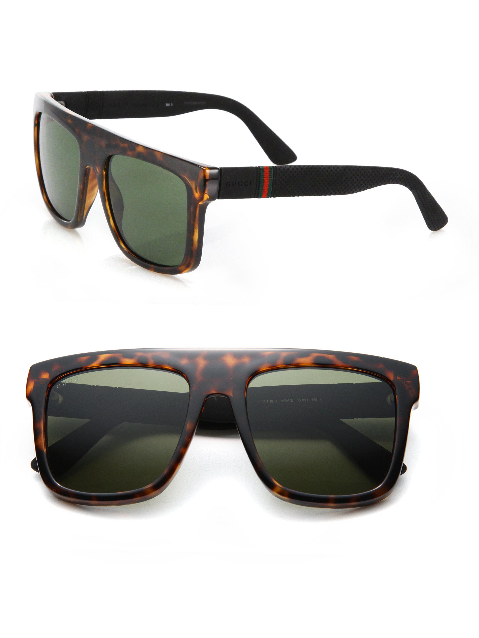 099fbfdc4b9 Lyst - Gucci 55mm Flat-top Injected Sunglasses in Black