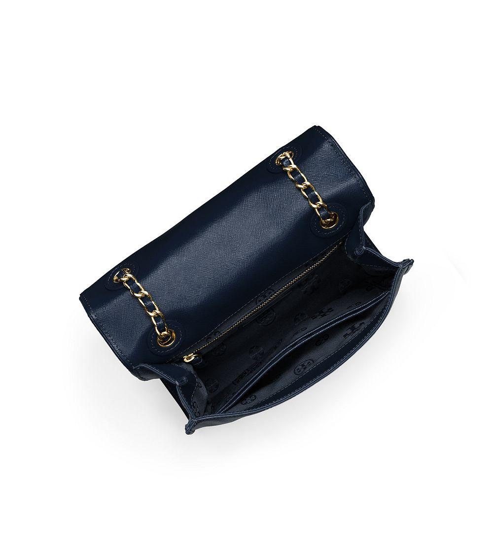 17d30a63fc8 Lyst - Tory Burch Fleming Patent Medium Bag in Blue