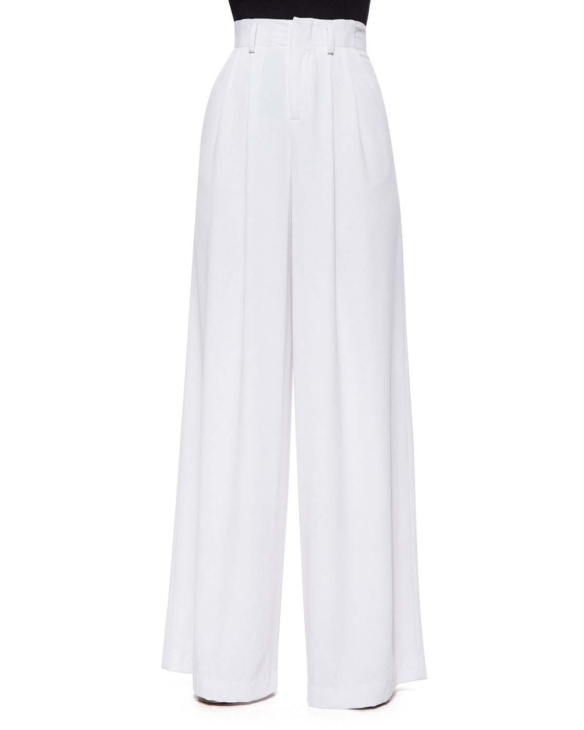Alice   olivia High-waist Pleated Wide-leg Pants in White | Lyst