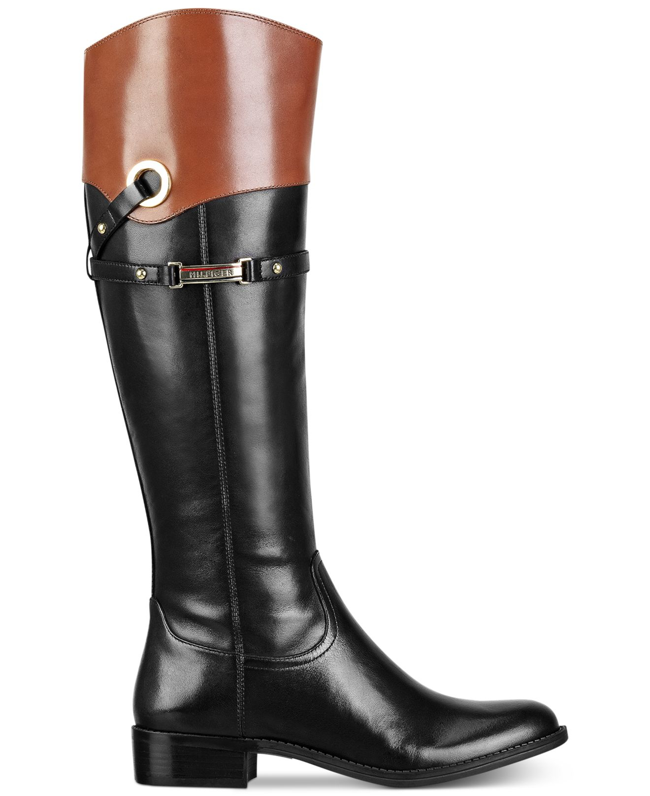 tommy hilfiger delphy wide calf riding boots in black black tan lyst. Black Bedroom Furniture Sets. Home Design Ideas