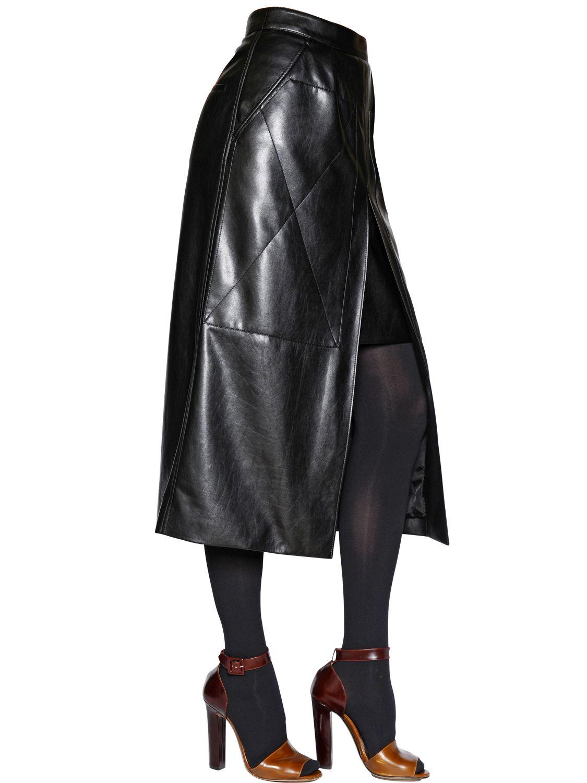 rykiel faux leather skirt in black lyst