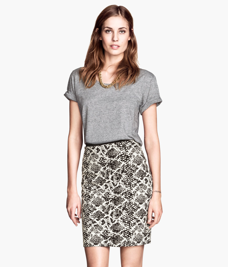 h m pencil skirt in white lyst