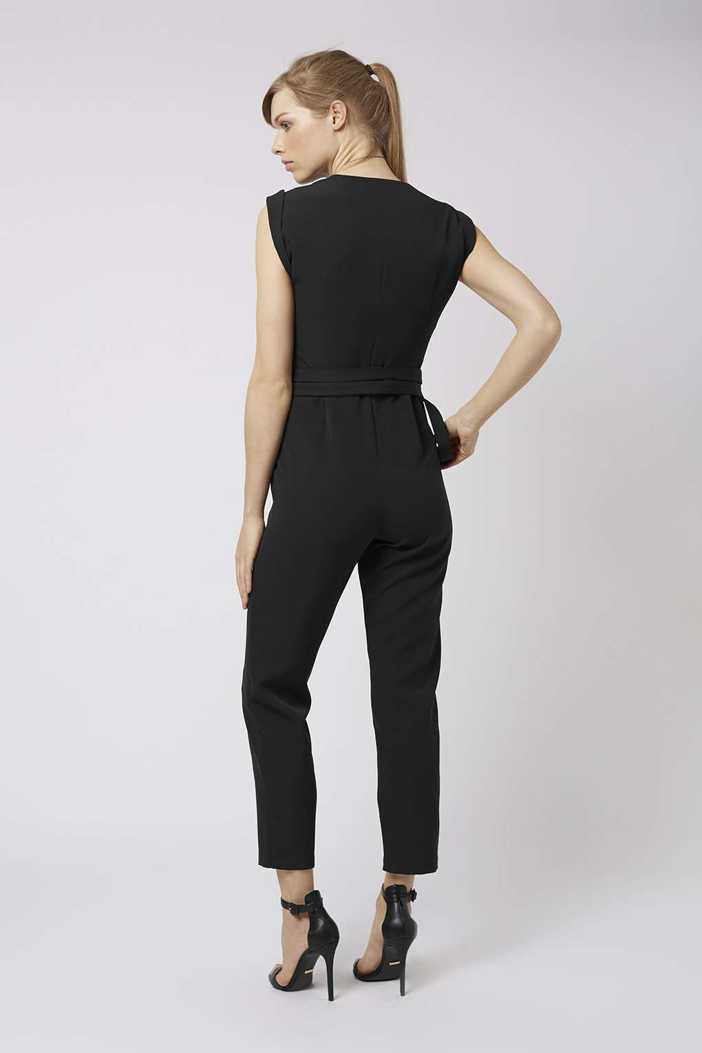 0eac2e9c3d0e Lyst - TOPSHOP Belted Judo Wrap Jumpsuit in Black