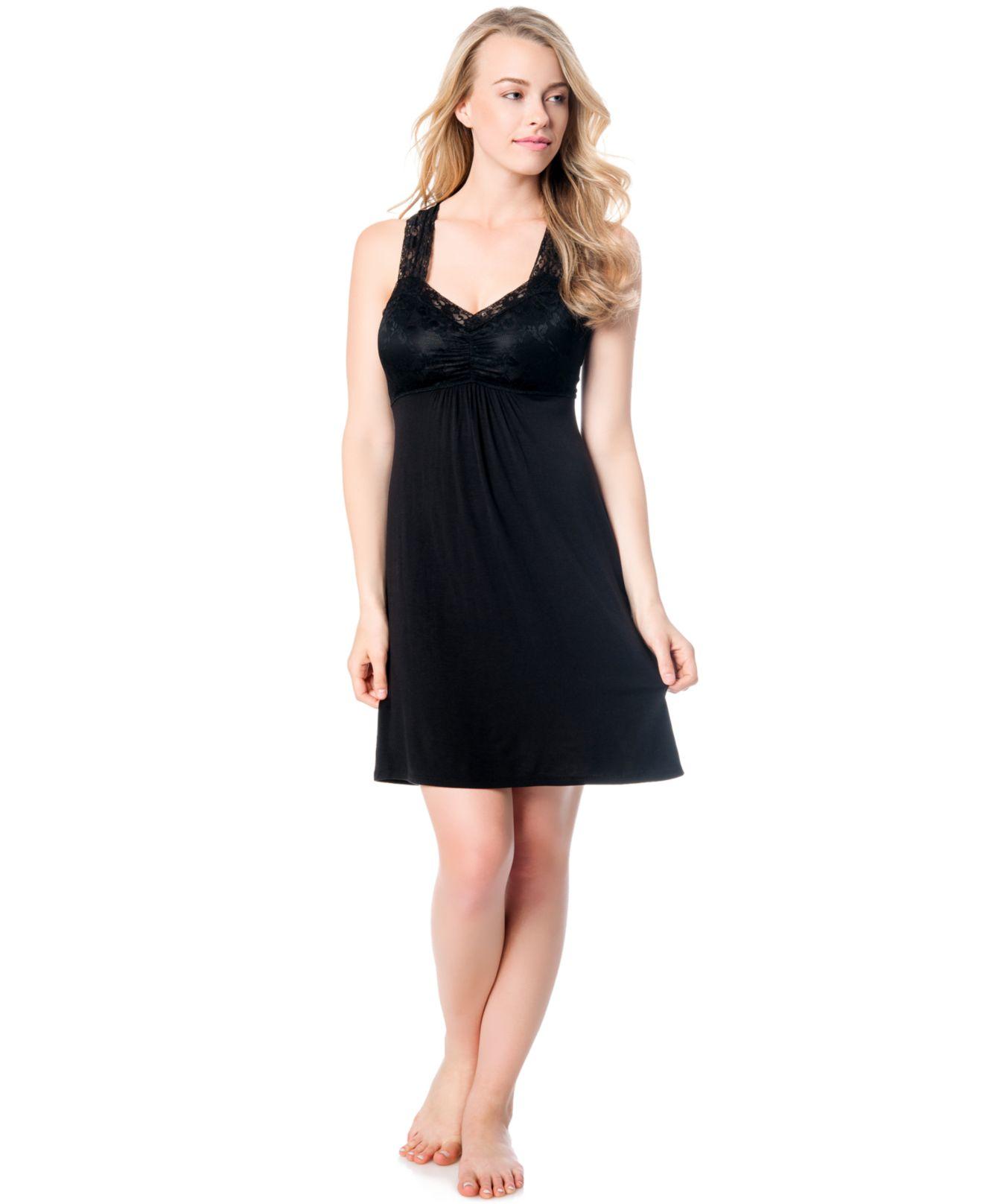 Jessica simpson maternity lace trim nursing nightgown in black lyst gallery ombrellifo Gallery