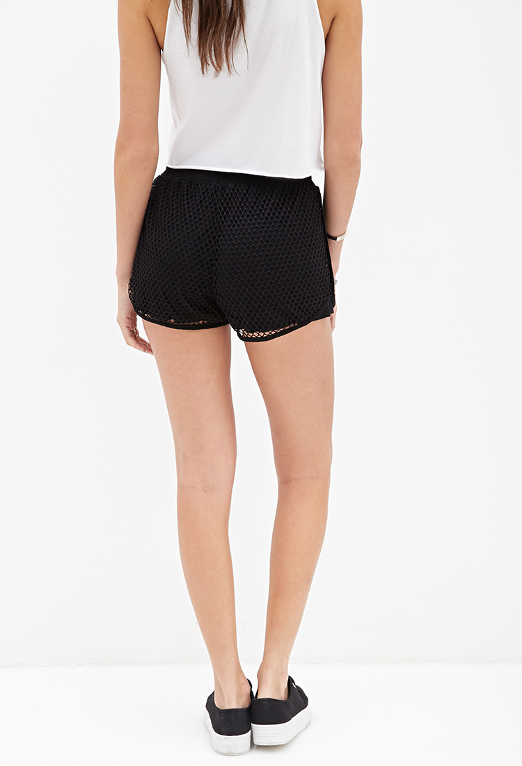 Forever 21 High-Waisted Mesh Dolphin Shorts in Black | Lyst