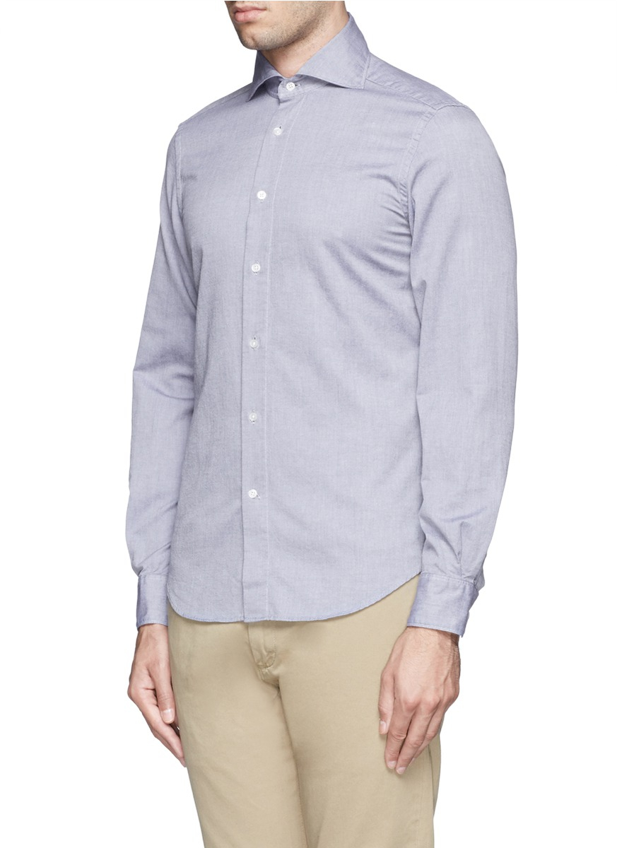 Lyst boglioli spread collar oxford shirt in blue for men for Men s spread collar shirts