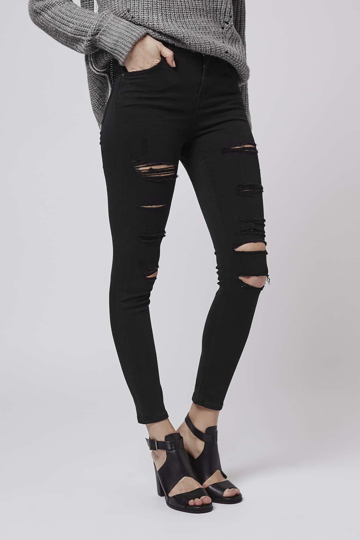 0decd6a3354 TOPSHOP Moto Super Rip Jamie Jeans in Black - Lyst