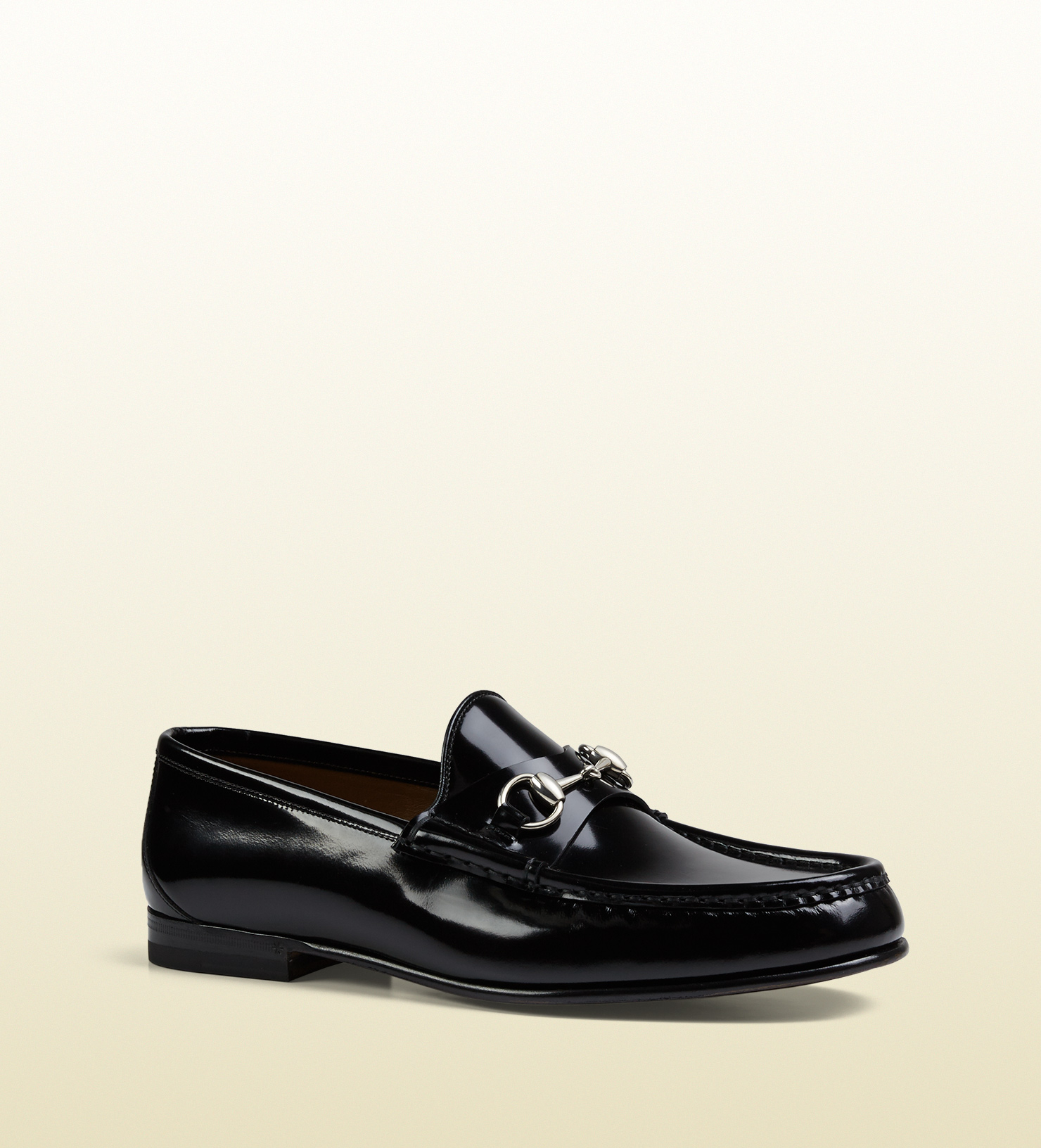 6bf67634caa2 Lyst - Gucci Men s Brushed Leather Horsebit Loafer in Black for Men