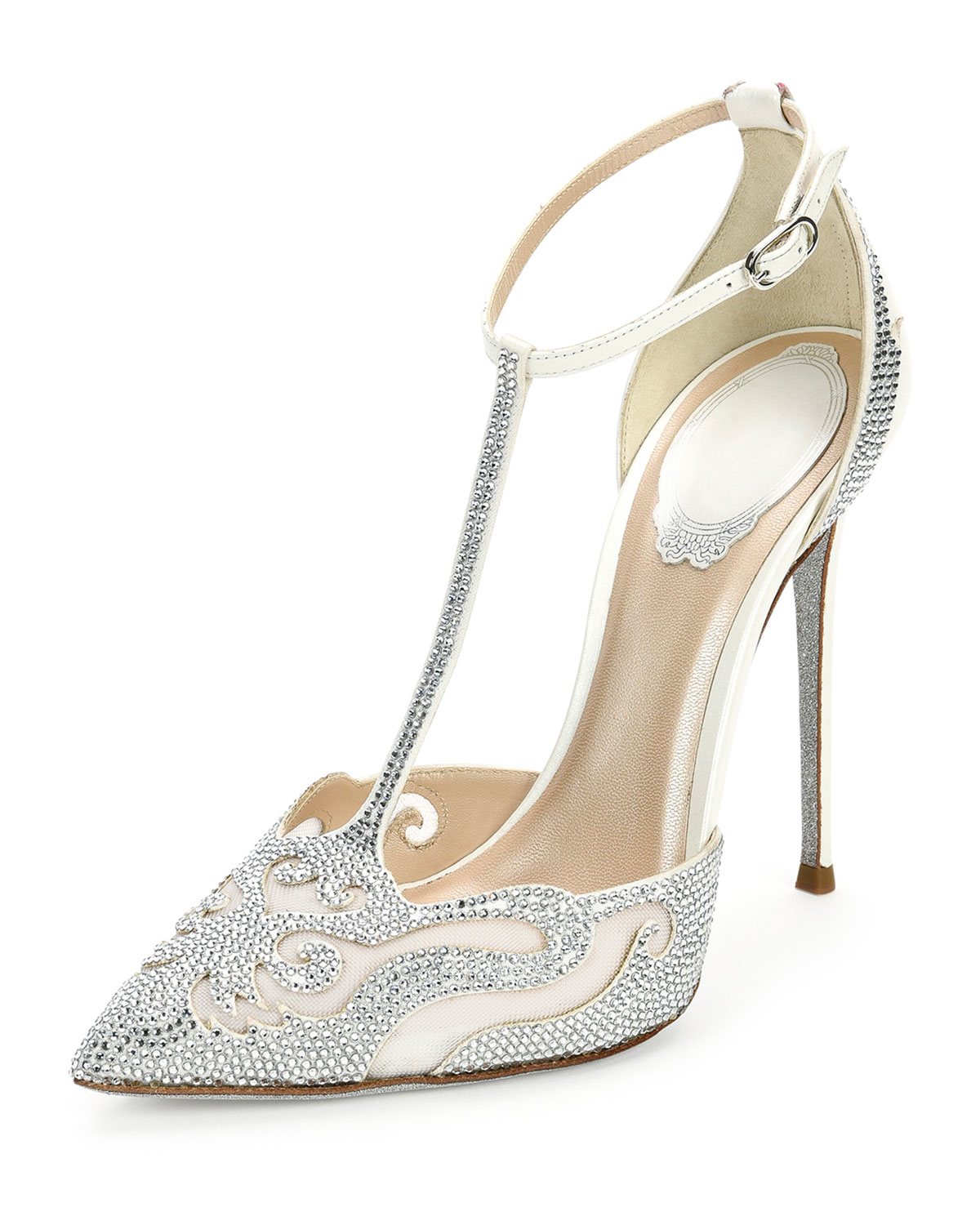 0a35f85d6e1227 Lyst - Rene Caovilla Crystal-Embellished T-Bar Pumps in White