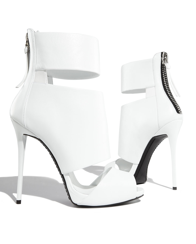 White Peep Toe High Heels