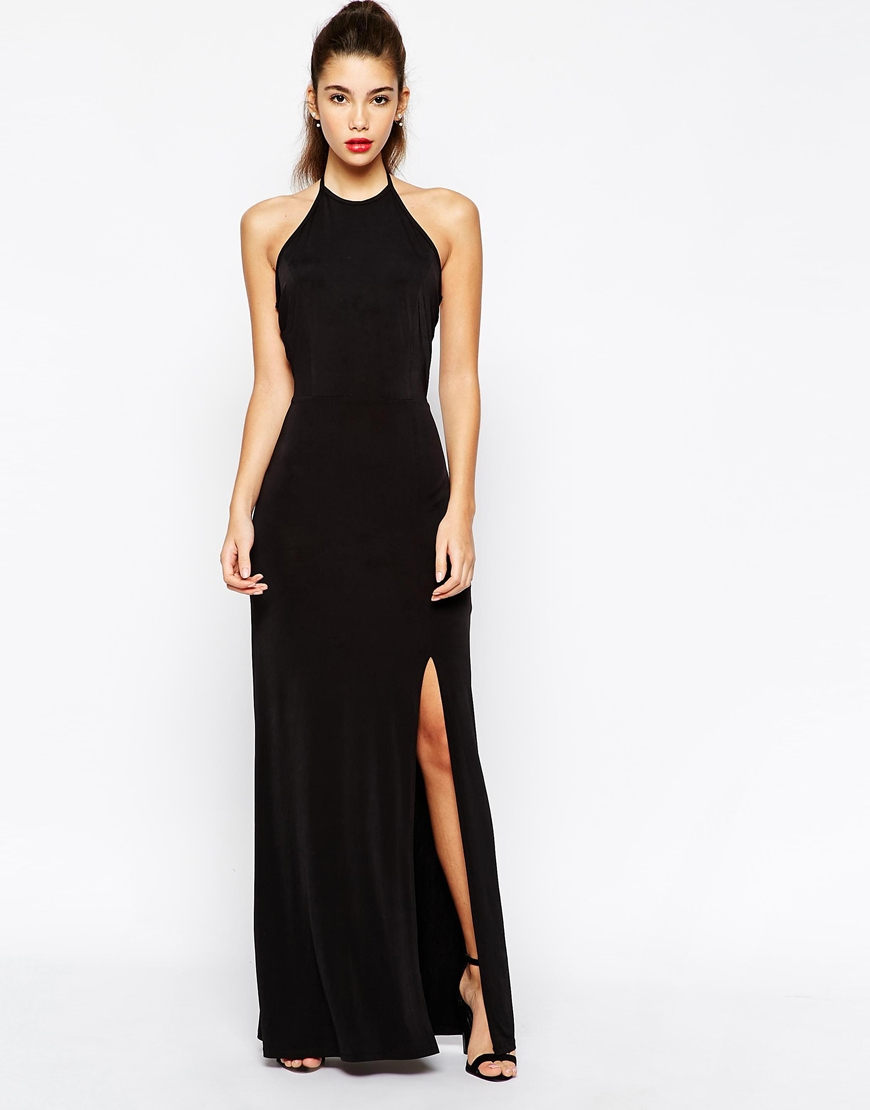 Love Halterneck Body-Conscious Maxi Dress With Open Back in Black ...