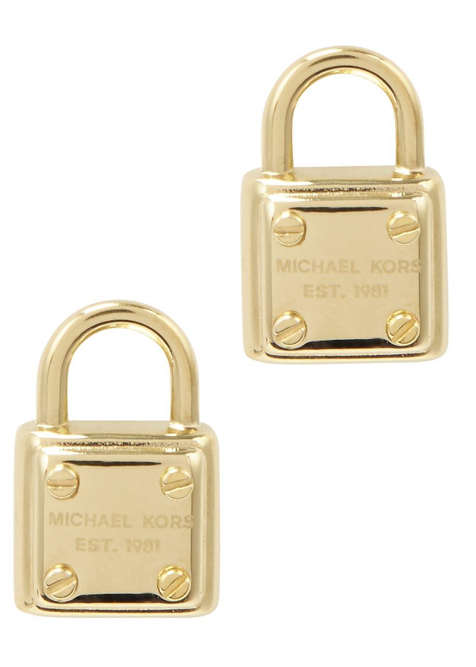michael kors gold tone padlock earrings in metallic lyst