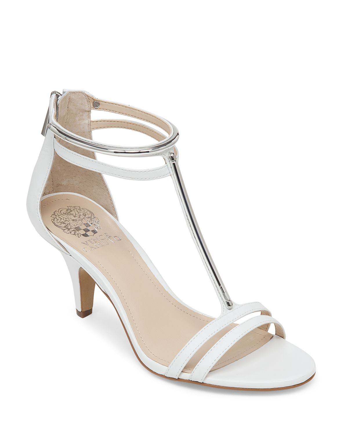 Vince Camuto Sandals Mitzy Mid Heel In White New Ivory
