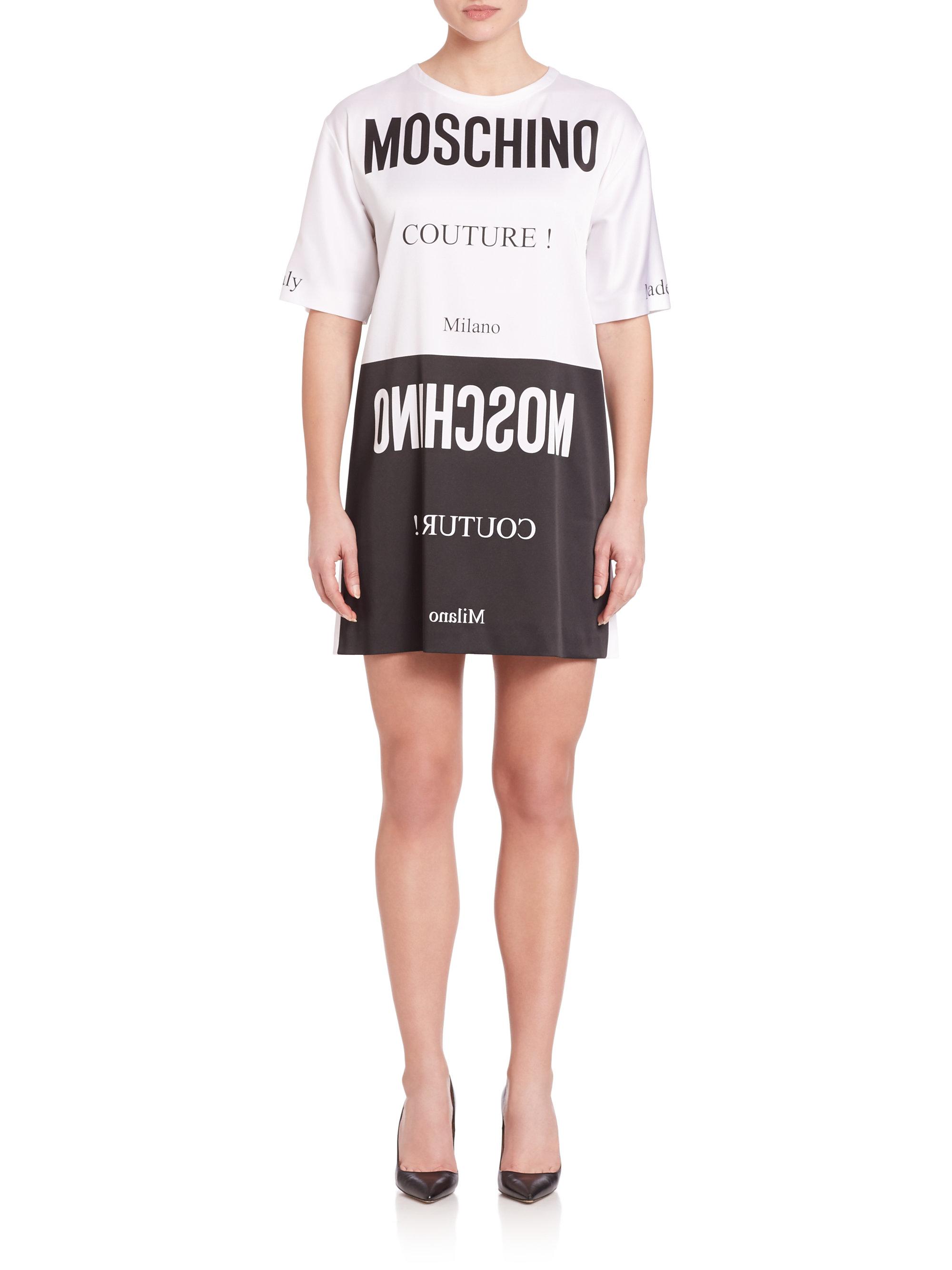 Moschino logo t shirt dress in black lyst for Logo t shirt dress