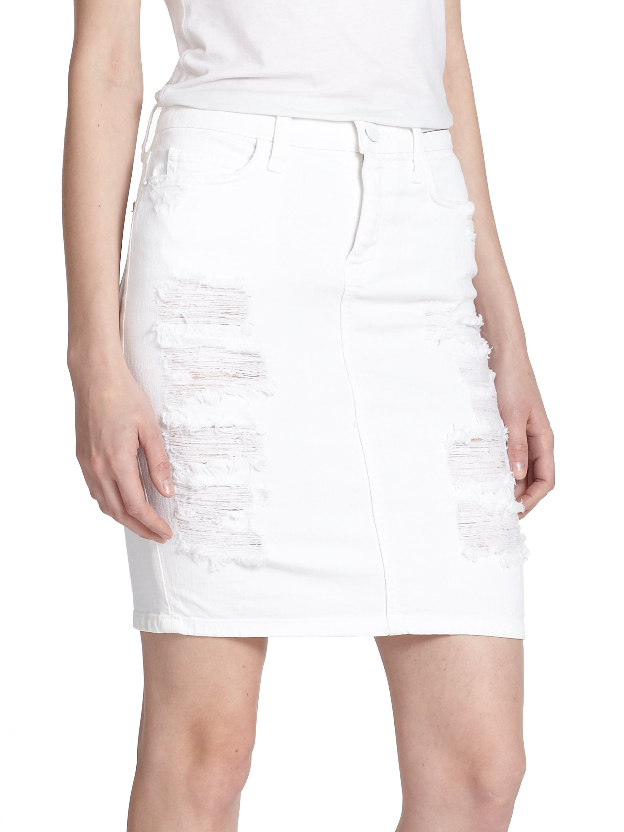 Current/elliott Distressed Denim Pencil Skirt in White | Lyst