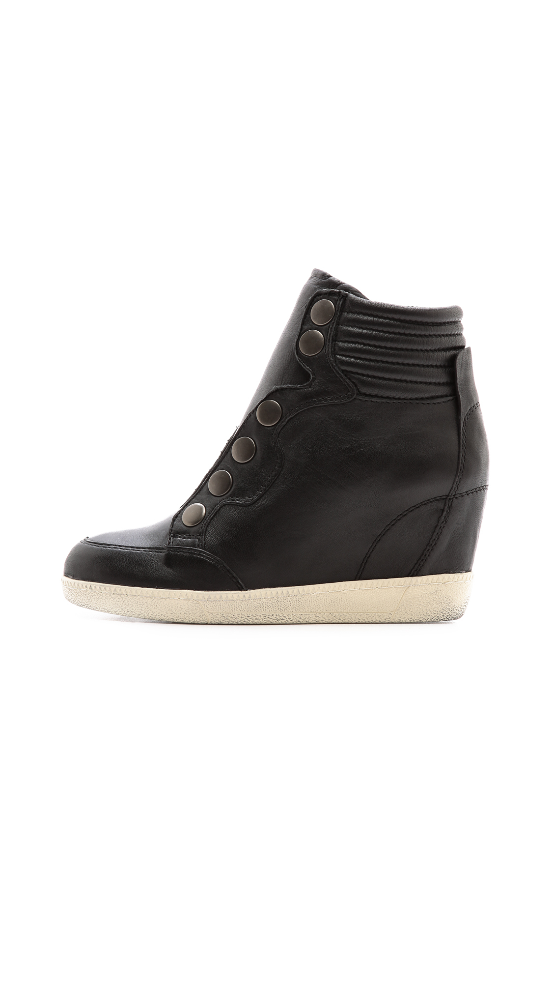 Black and white leather and suede hi-top sneakers from Adidas Originals featuring a round toe, a lace-up front fastening, stitching details, a padded ankle and a high wedge heel. Designer Style ID S