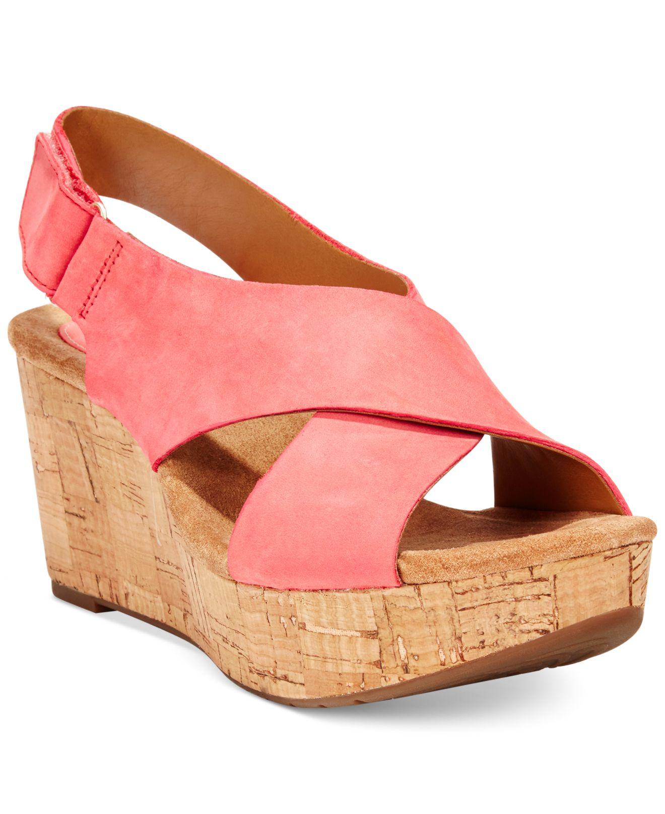 Clarks White Artisan Women's Caslynn Shae Platform Wedge Sandals