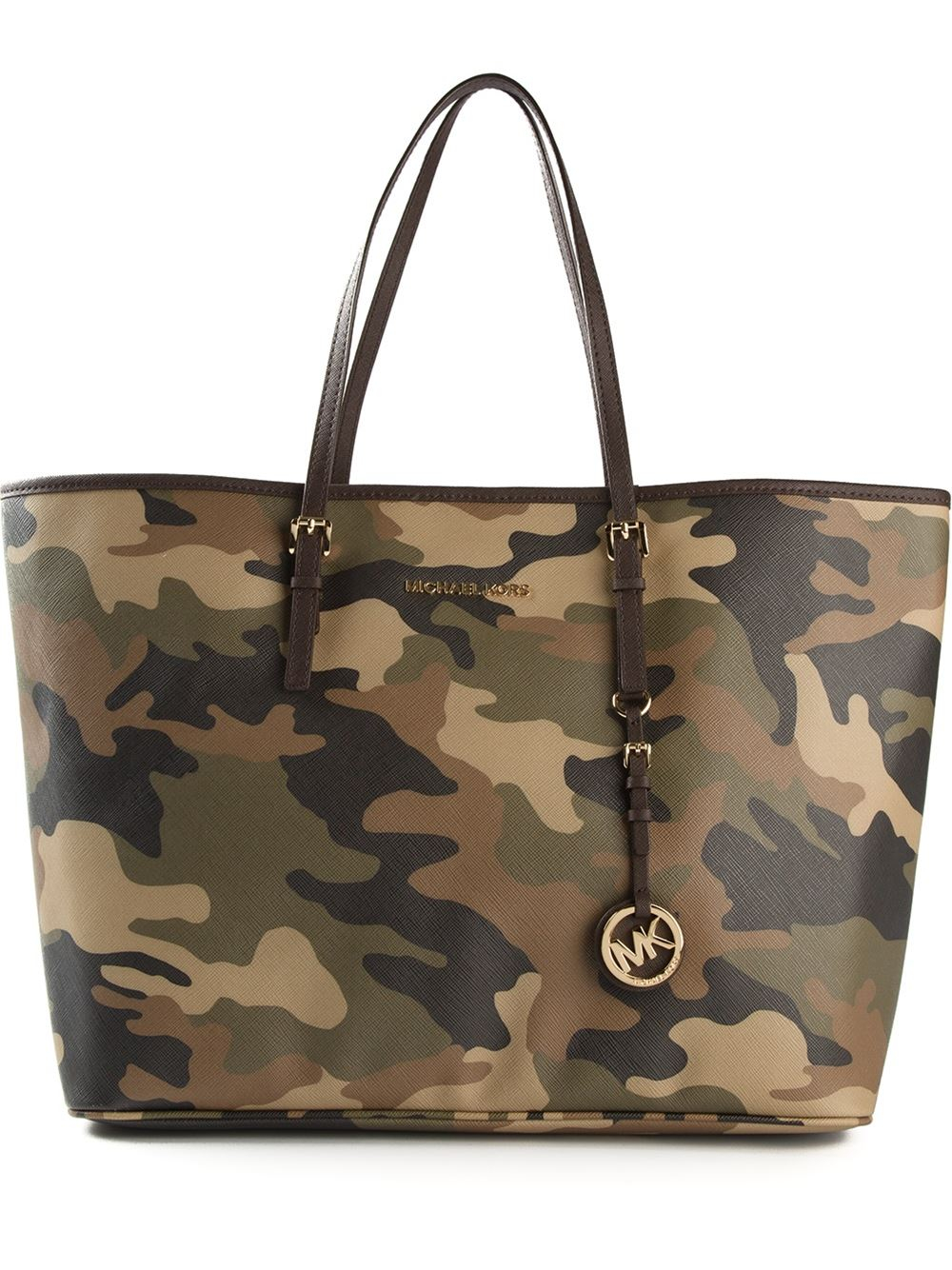 2c5bc5d0d773 MICHAEL Michael Kors Camouflage 'Jet Set' Tote in Green - Lyst