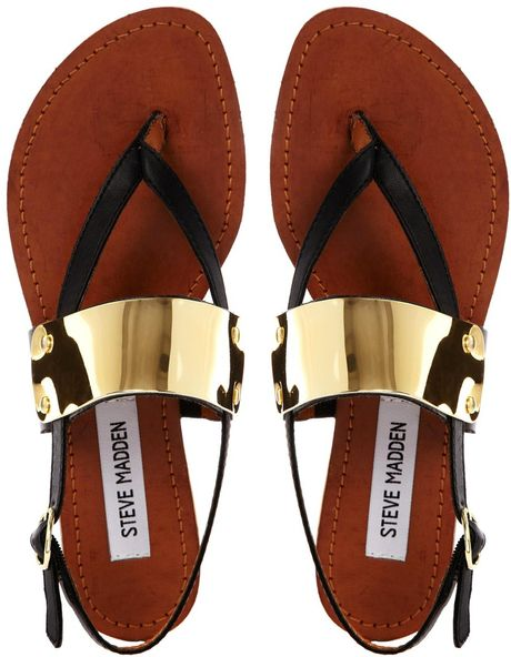 Steve Madden Cuff Toe Post Black Flat Sandals In Gold