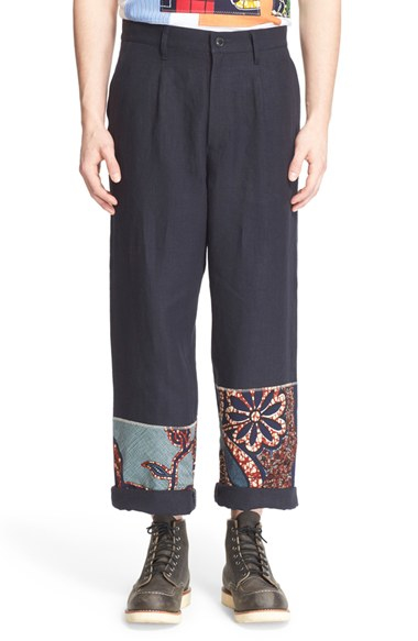 Junya watanabe Patchwork Hem Linen Pants in Blue for Men | Lyst